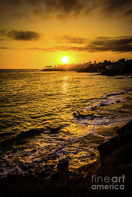 Laguna Beach Sunset Picture At Shaw's Cove Poster by Paul Velgos
