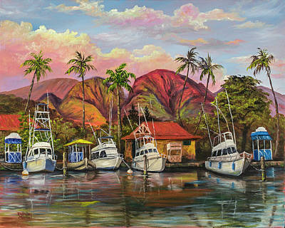 Lahaina Harbor Sunset Poster