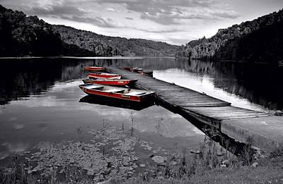 Lake And Boats Poster by Lj Lambert