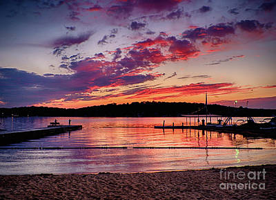 Poster featuring the photograph Lake Beach Sunset by Mark Miller