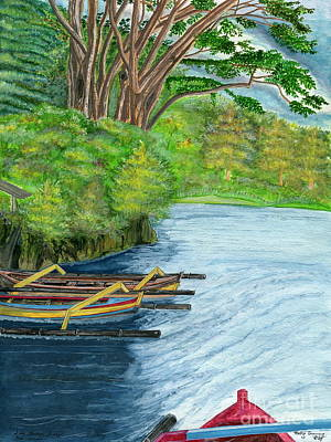 Poster featuring the painting Lake Bratan Boats Bali Indonesia by Melly Terpening