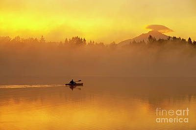 Lake Cassidy With Kayaker And Mount Pilchuck Poster