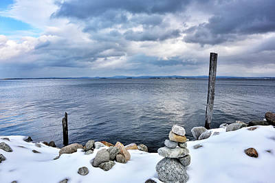 Lake Champlain During Winter Poster by Brendan Reals