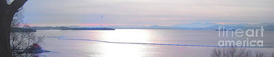 Lake Champlain South From Atop Battery Park Wall Panorama Poster