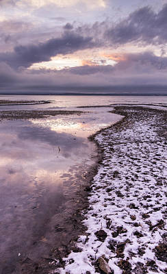 Lake Champlain-winter-sunset-stormy Clouds Poster by Andy Gimino