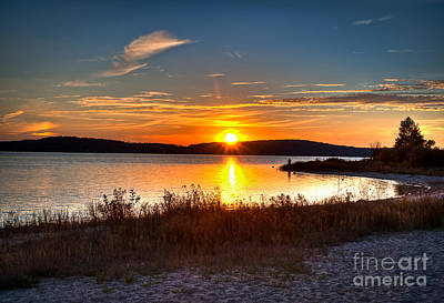 Lake Charlevoix Sunset Poster by Larry Carr