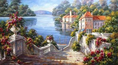 Lake Como Before Sunrise Poster by Lucio Campana