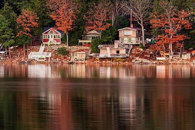 Lake Cottages Reflections Poster