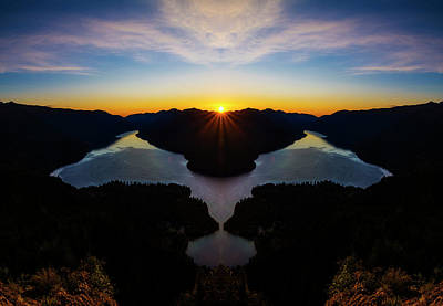 Lake Crescent Sunset Reflection Poster
