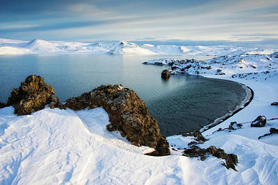 Poster featuring the photograph Lake Kleifarvatn Iceland In Winter by Matthias Hauser
