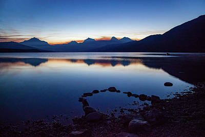 Poster featuring the photograph Lake Mcdonald Sunrise Tranquility by Lon Dittrick
