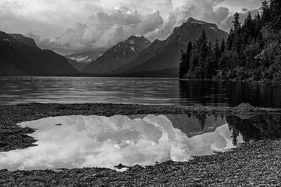 Lake Mcdonald Sunset In Black And White Poster