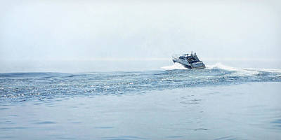 Poster featuring the photograph Lake Michigan Boating by Lars Lentz