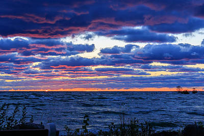 Lake Michigan Windy Sunrise Poster