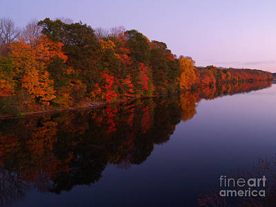 Lake Nockamixon Twilight Reflection In Autumn Poster