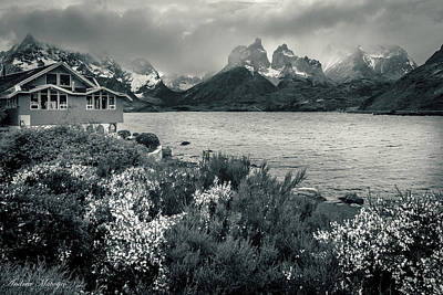 Poster featuring the photograph Lake Pehoe In Black And White by Andrew Matwijec