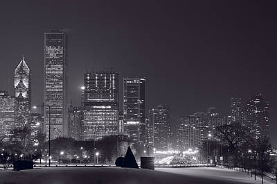 Lake Shore Drive Chicago B And W Poster
