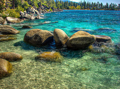 Lake Tahoe Beach And Granite Boulders Poster by Scott McGuire