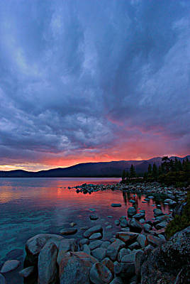 Lake Tahoe Sunset Portrait 2 Poster by Sean Sarsfield