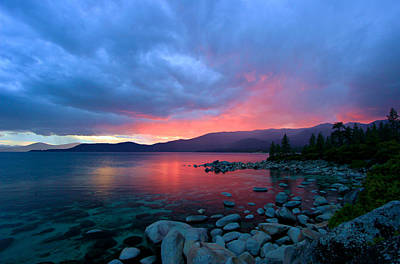 Lake Tahoe Sunset Poster by Sean Sarsfield
