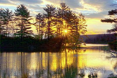 Lake Tiorati Golden Sunrise Poster