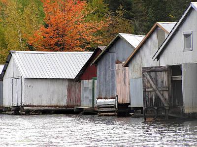 Lake Vermillion Boathouses Poster by Li Newton