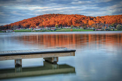 Poster featuring the photograph Autumn Red At Lake White by Jaki Miller