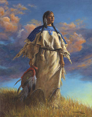 Poster featuring the painting Lakota Woman by Kim Lockman