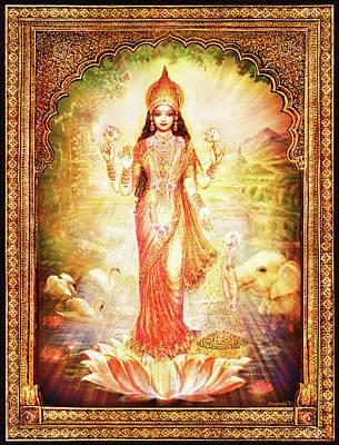 Lakshmi Goddess Of Fortune With Lighter Frame Poster