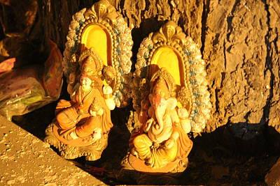 Lakshmi And Ganesha, Vrindavan Poster by Jennifer Mazzucco
