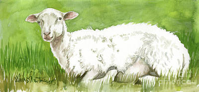 Poster featuring the painting Lamb In Spring by Linda L Martin