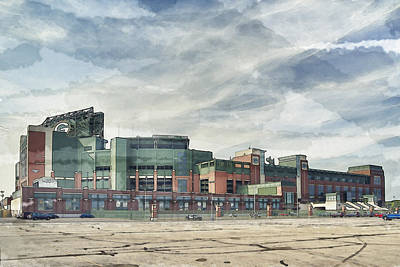 Poster featuring the photograph Lambeau Field Painterly Edition by Joel Witmeyer