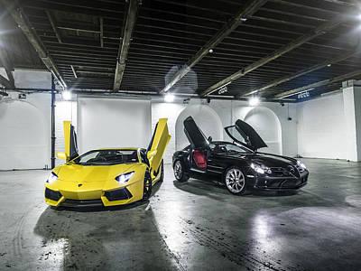 Lamborghini Aventador And Mercedes Slr Poster