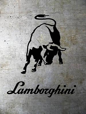 Lamborghini Bull Logo On Shop Metal Poster by Daniel Hagerman