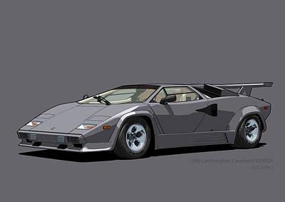 Lamborghini Countach 5000qv Canna Di Fucile Us Spec Poster