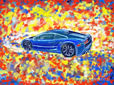 Lamborghini Blue Poster by Robert Yaeger