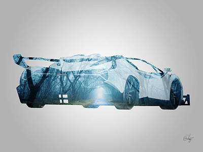 Lamborghini Veneno Forest Path Poster