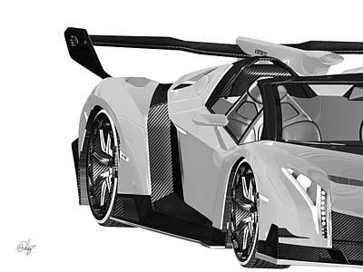 Lamborghini Veneno Gris Poster
