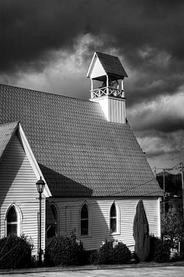 Lamp And Belfry In Black And White Poster
