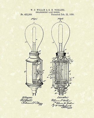 Lamp Socket 1890 Patent Art Poster by Prior Art Design