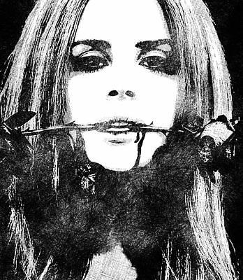 Lana Del Rey Bw Portrait Poster by Mihaela Pater