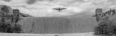 Poster featuring the photograph Lancaster Over The Derwent Dam Bw Version by Gary Eason