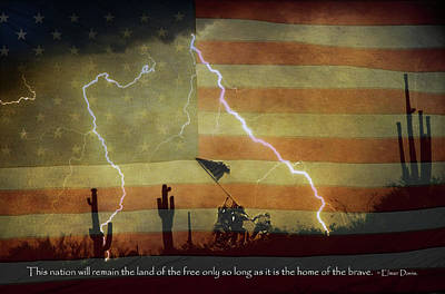 Land Of The Free - Home Of The Brave  Poster by James BO  Insogna
