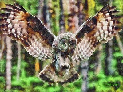 Landing Owl Poster by Leonardo Digenio