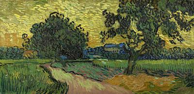 Landscape At Twilight Poster by Vincent van Gogh