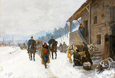 Landscape In Winter With Jugglers Dancing Bears And Gendarmes On Horseback Poster by Edouard Castres