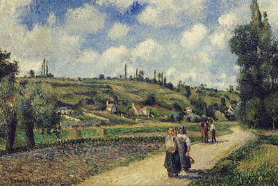 Landscape Near Pontoise The Auvers Road Poster by Camille Pissarro
