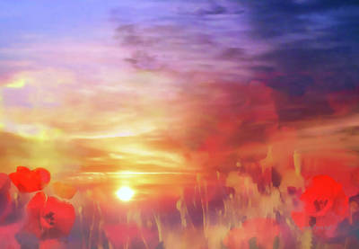 Poster featuring the digital art Landscape Of Dreaming Poppies by Valerie Anne Kelly