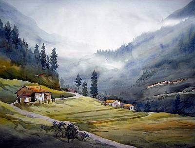 Poster featuring the painting Landscape Of Himalayan Mountain by Samiran Sarkar