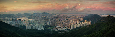 Landscape Of Hong Kong And Kowloon In Sunrise Morning With Mist  Poster by Anek Suwannaphoom